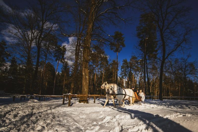 Zimska poroka na Brdu - ženin in nevesta