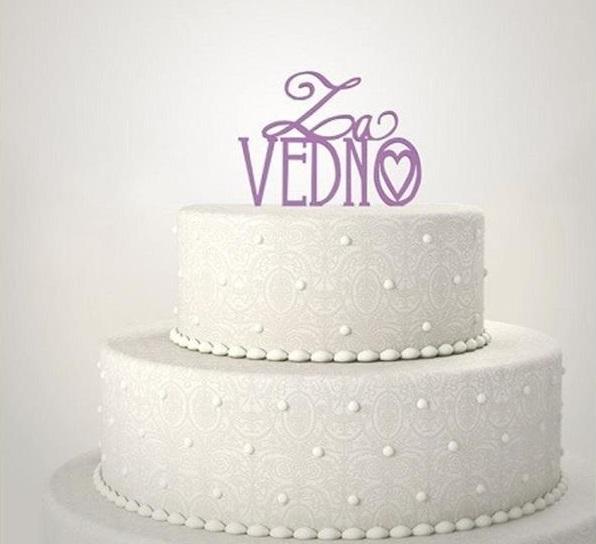 poročna torta, napis za vedno