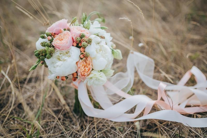 Poročni šopek, bidermajer, poroka