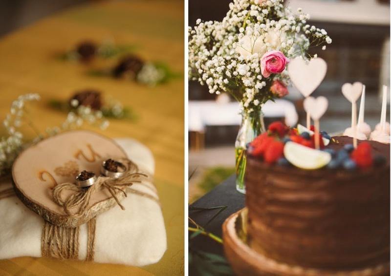 Rustikalna poročna torta in blazinica za prstane
