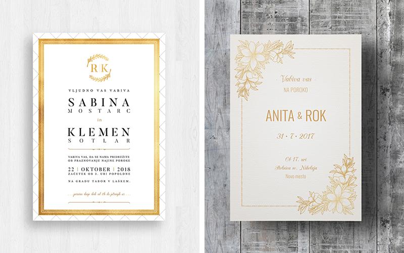 poročna vabila, zlato poročno vabilo, poročne tiskovine, poroka