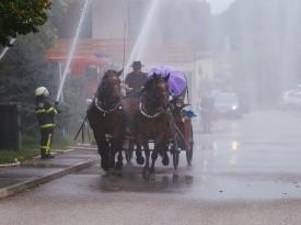 Poročni prevoz in sprejem gasilcev.