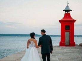 Poročno fotografiranje, mladoporočenca, poroka ob morju