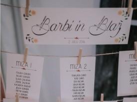 Poročne tiskovine, sedežni red, Barbara in Blaž, Zaobljuba.si