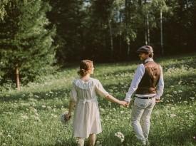 Ženin in nevesta - vintage poroka