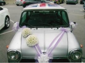 poročni šopek, nevesta, poroka, cvetličarna, cvetnik, zaobljuba, dekoracija, avtomobil, mini cooper