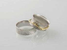 Poročni prstan, belo in rdeče zlato, prstan po naročilu, zlatarna Brežnik.