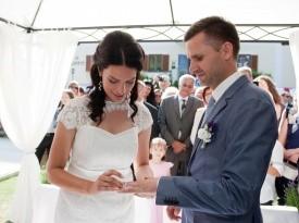mladoporočenca, poroka, zaobljuba, poročna obleka