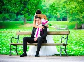 poročna obleka, par, mod art, šopek