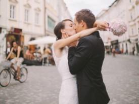 Poročni poljub Katja in Mitja