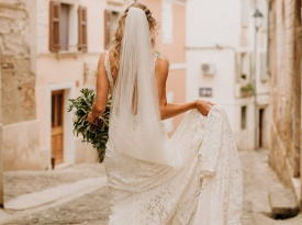 nevesta, poročni šopek, poročna obleka