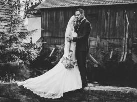 poročna fotografija, poročni šopek, mladoporočenca