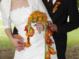 Poročni in naprsni šopek.