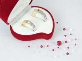 Kobinacija rumenega in belega zlata, poročni prstan, poročna prstana.