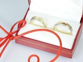 Poročni prstan, poročna prstana, izdelano po meri, rumeno zlato, belo zlato
