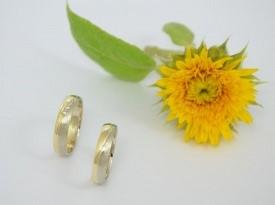 Poročna prstana, kombinacija rumenega in belega zlata.