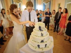 poročni prostor, poročna dvorana, poročna torta, nevesta, poročna obleka, razrez poročne torte, Terme Dobrna, Zaobljuba.si
