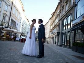 poroka, poročni par, mladoporočenca, hotel slon, poroka v Ljubljani