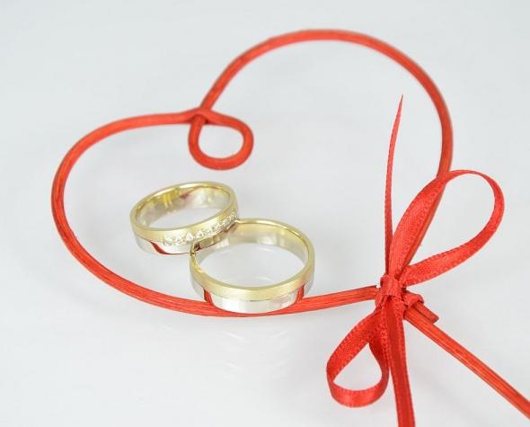 Poročni prstan, poročna prstana, rumeno in belo zlato.